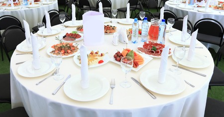 Serving table prepared for event party or wedding. in the restaurant