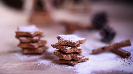 Christmas kitchen. background image homemade cookies on wooden