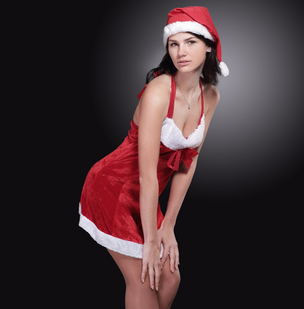 stylish young woman in Santa dress