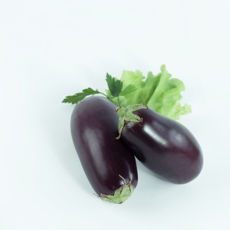 eggplant,lettuce and parsley on a white background