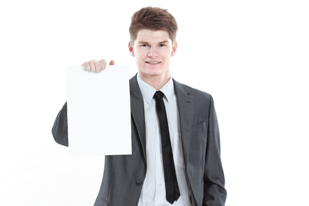 young businessman showing a blank sheet.isolated on a white