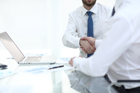 close up. handshake of financial partners.concept of partnership Stock Photo