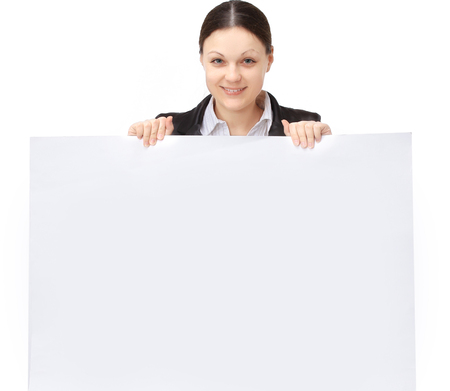 young woman employee of the company holding a blank banner