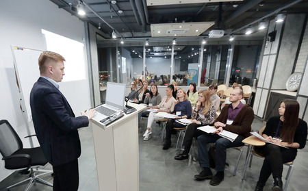 project Manager conducts a meeting of senior staff. Фото со стока