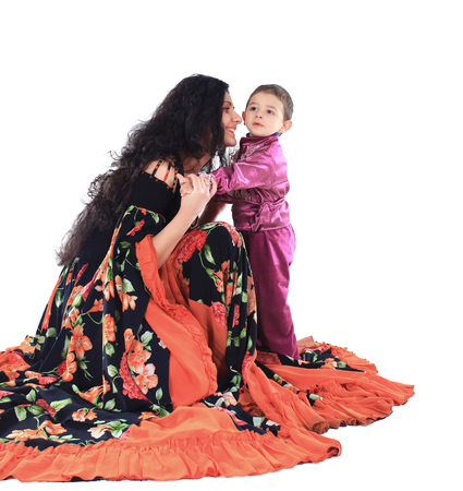 mother and little son in the Gypsy costumes