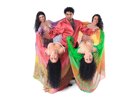 folk dance group performing Gypsy dance.isolated on a white