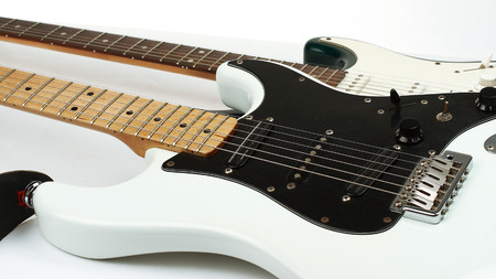 closeup.two stylish electric guitar . isolated on white. 写真素材