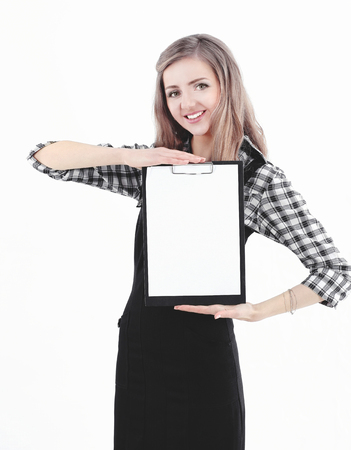 young business woman showing blank sheet. isolated on white