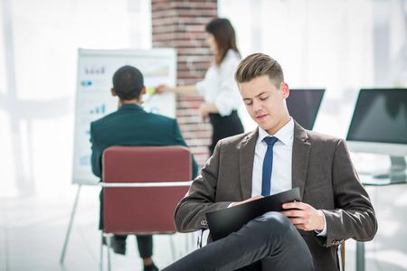 young businessman preparing for a business presentation Standard-Bild - 119648608
