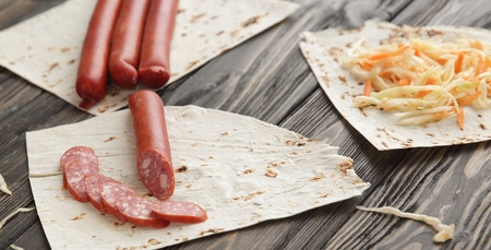 products for making sandwich Shawarma on wooden background Stockfoto