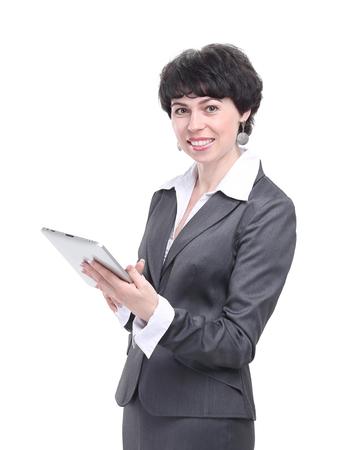 donna d'affari moderna con tavoletta digitale.isolato su bianco Archivio Fotografico