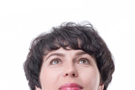 Nahaufnahme. träumende Geschäftsfrau, die zum Kopierraum aufschaut Standard-Bild