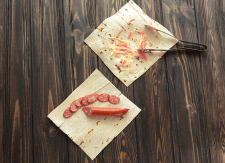 preparation of Shawarma.photo on a wooden background Stockfoto