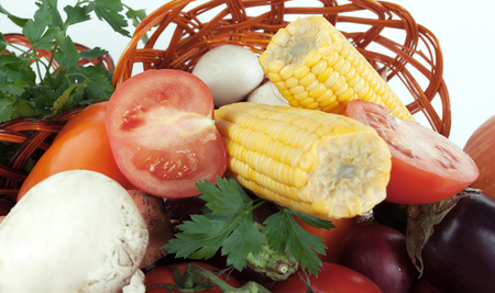 closeup.a variety of corn and fresh vegetables.isolated on a white background