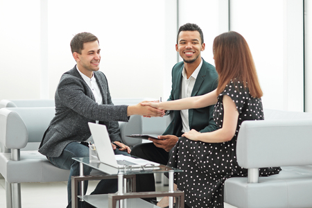 meeting of business partners in the business center