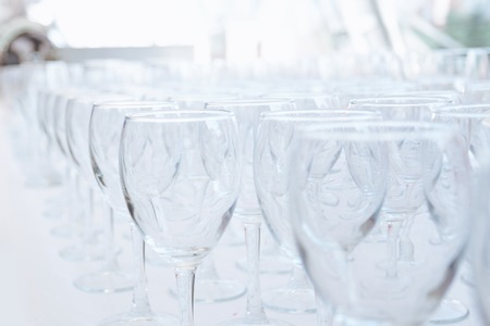 Empty glass glasses on the table in the restaurant