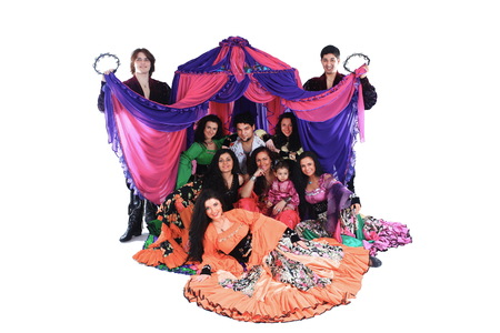 Portrait of a Gypsy dance group in the  of the tent