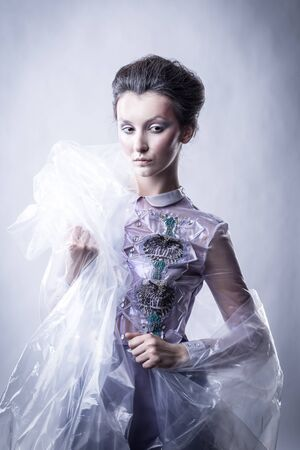 beautiful young woman in fashionable dress. beauty and fashion Imagens