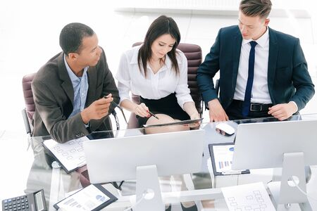 professional business team sitting at Desk in the office