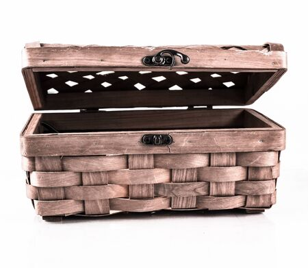 wicker box for home small items .isolated on a white 스톡 콘텐츠