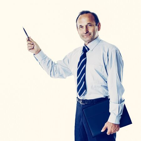 successful businessman with documents in hand on a white background