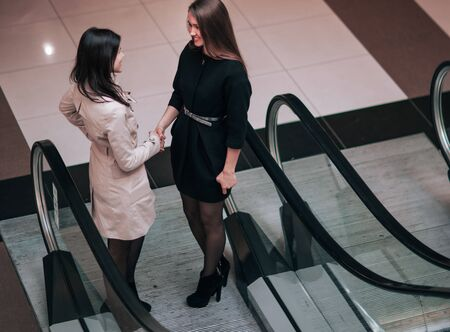 financial manager meets the client in the foyer of the modern of