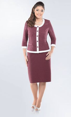 in full growth. attractive female model in a purple suit.
