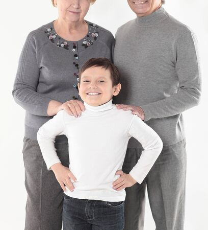 Family photo of grandma grandpa and the grandson