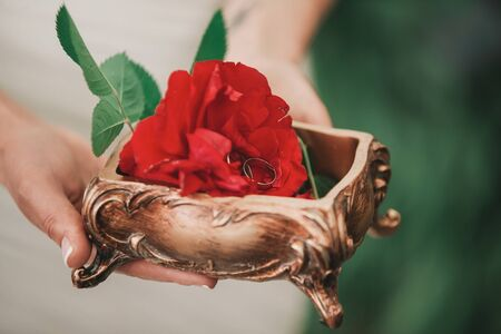 close up.rose and wedding rings in the hands of the bride 写真素材