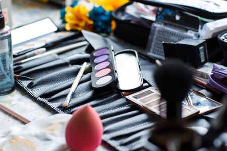loseup of the makeup and brushes for professional makeup Фото со стока