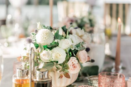 close up. beautiful bouquet on the wedding table Stock Photo