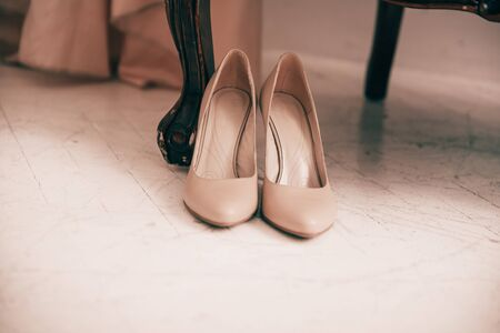 beautiful white shoes for the bride. photo with space for text