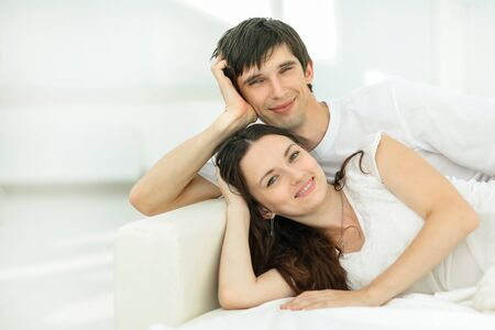 happy couple relaxing on Sunday. concept of family happiness.