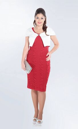 fashionable woman in red short sleeve dress .isolated on white