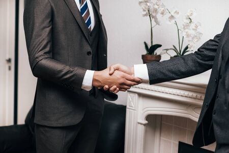 close up. confident handshake of two business people . concept of cooperation
