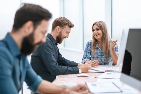 close up. a group of business people working in the office Stock Photo