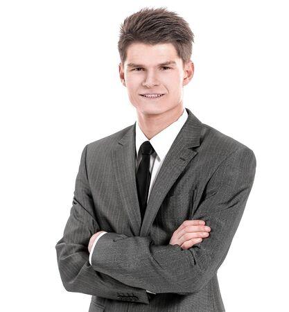 Halblanges Porträt des Geschäftsmannes mit gekreuzten Händen, Standard-Bild