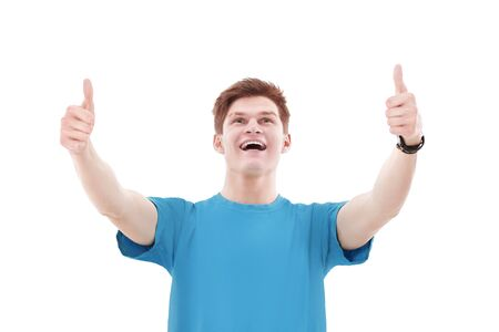 modern guy showing thumb up.isolated on a white background Archivio Fotografico
