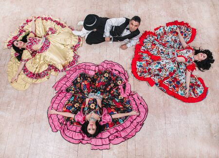 top view. dance group performing Gypsy folk dance
