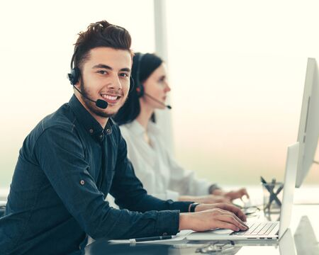 professional call center operators communicate with customers.