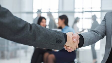 close up. business handshake on office background . success concept