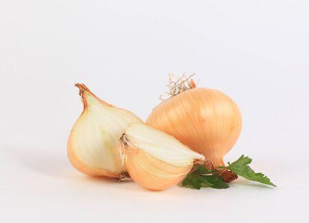 onion vegetable closeup on white background