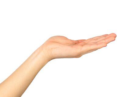 Main féminine sur fond blanc