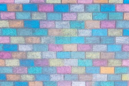 close up. fragment of the wall of colored bricks. photo with space for text