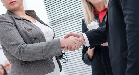 businessman and businesswoman shaking hands at an office meeting Banco de Imagens