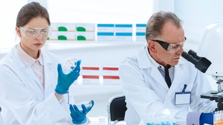 close up. Microbiology scientists work in the laboratory .