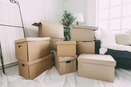 lot of cardboard boxes in the new apartment.