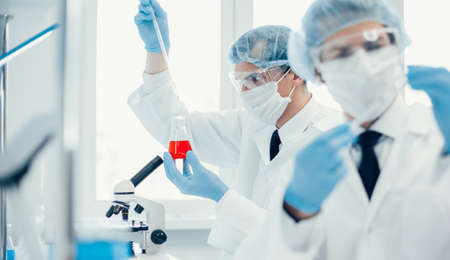 close up. group of scientists work in a medical laboratory .