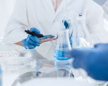 close up. image of scientists microbiologists conduct research