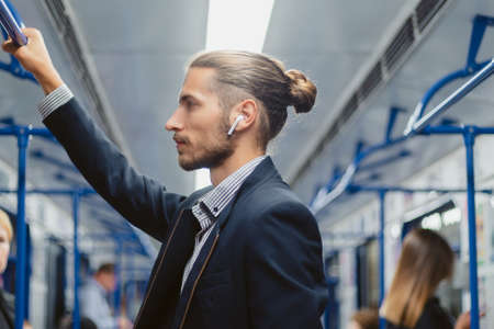 close up . business man traveling in the subway. Banque d'images